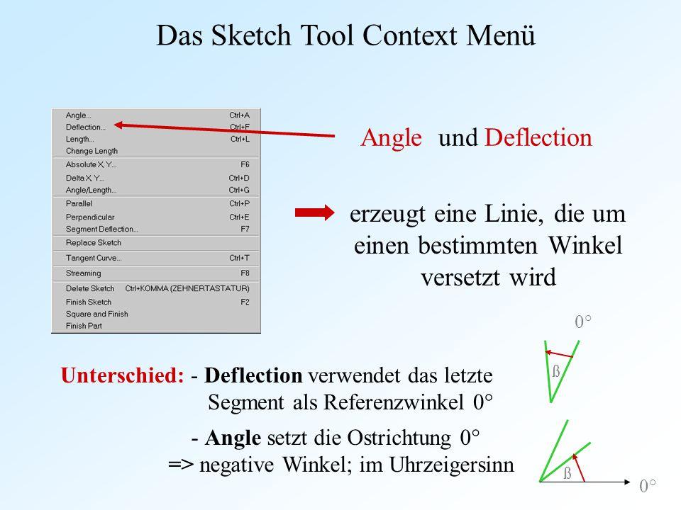 Angle und Deflection erzeugt eine Linie, die um einen bestimmten Winkel versetzt wird Das Sketch Tool Context Menü Unterschied: - Deflection verwendet