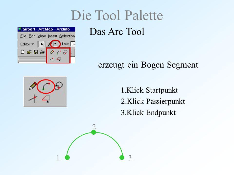 erzeugt ein Bogen Segment 1.Klick Startpunkt 2.Klick Passierpunkt 3.Klick Endpunkt Die Tool Palette Das Arc Tool 2. 3.1.