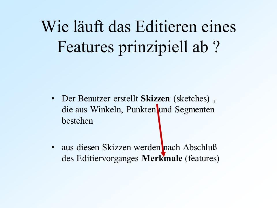 Wie läuft das Editieren eines Features prinzipiell ab ? Der Benutzer erstellt Skizzen (sketches), die aus Winkeln, Punkten und Segmenten bestehen aus