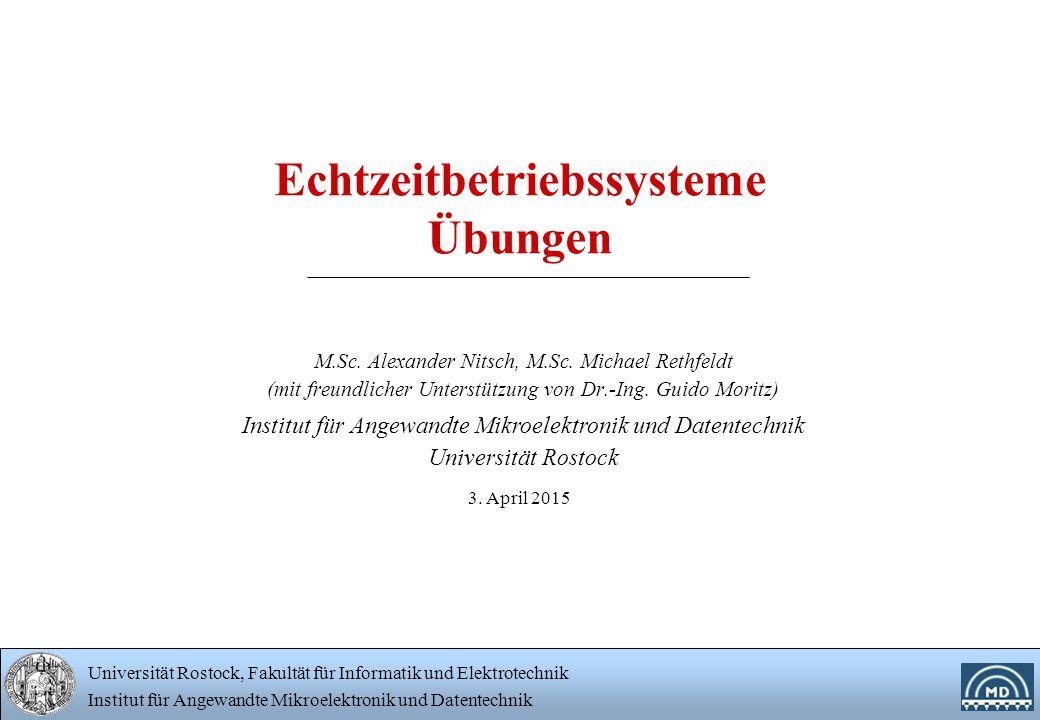 Universität Rostock, Fakultät für Informatik und Elektrotechnik Institut für Angewandte Mikroelektronik und Datentechnik 12 Übung 2 Typische Ausgaben nach stdout PID(Father): 5179, var=0 PID=5180, var=1 PID=5181, var=2 PID=5180, var=2 PID=5179, var=1 PID=5182, var=2 PID=5179, var=2