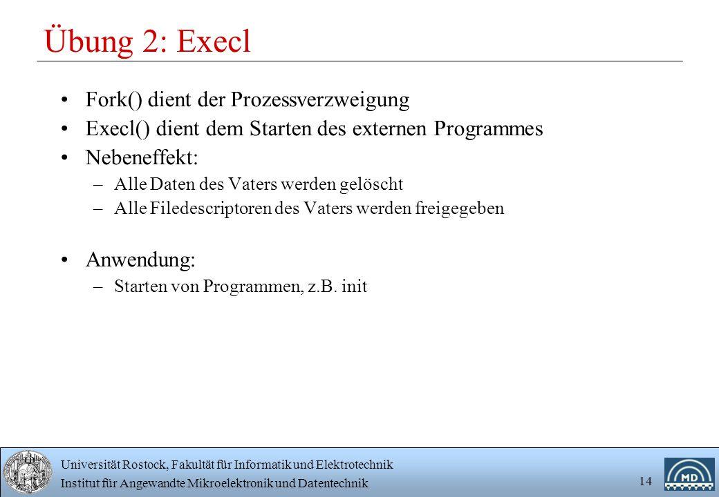 Universität Rostock, Fakultät für Informatik und Elektrotechnik Institut für Angewandte Mikroelektronik und Datentechnik 14 Übung 2: Execl Fork() dien