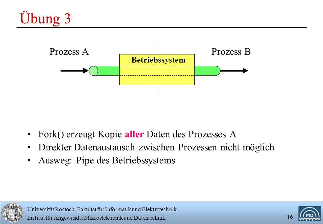 Universität Rostock, Fakultät für Informatik und Elektrotechnik Institut für Angewandte Mikroelektronik und Datentechnik 16 Übung 3 Fork() erzeugt Kop