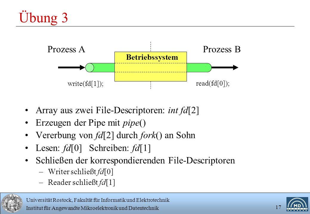 Universität Rostock, Fakultät für Informatik und Elektrotechnik Institut für Angewandte Mikroelektronik und Datentechnik 17 Übung 3 Array aus zwei File-Descriptoren: int fd[2] Erzeugen der Pipe mit pipe() Vererbung von fd[2] durch fork() an Sohn Lesen: fd[0] Schreiben: fd[1] Schließen der korrespondierenden File-Descriptoren –Writer schließt fd[0] –Reader schließt fd[1] Prozess AProzess B Betriebssystem write(fd[1]); read(fd[0]);