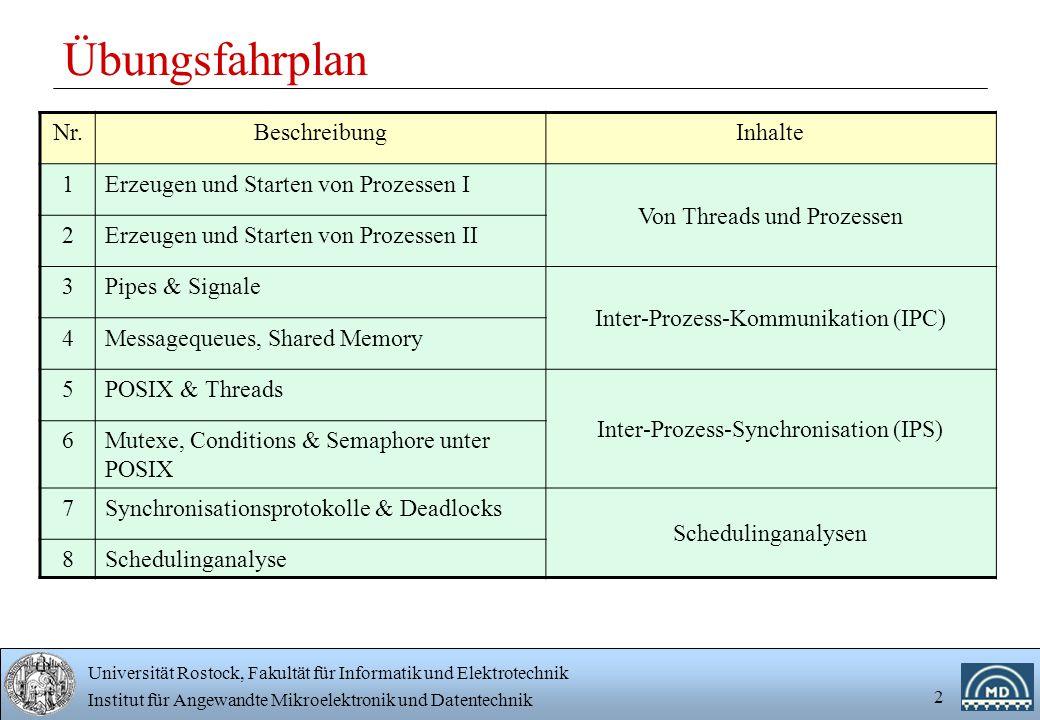 Universität Rostock, Fakultät für Informatik und Elektrotechnik Institut für Angewandte Mikroelektronik und Datentechnik 2 Übungsfahrplan Nr.BeschreibungInhalte 1Erzeugen und Starten von Prozessen I Von Threads und Prozessen 2Erzeugen und Starten von Prozessen II 3Pipes & Signale Inter-Prozess-Kommunikation (IPC) 4Messagequeues, Shared Memory 5POSIX & Threads Inter-Prozess-Synchronisation (IPS) 6Mutexe, Conditions & Semaphore unter POSIX 7Synchronisationsprotokolle & Deadlocks Schedulinganalysen 8Schedulinganalyse