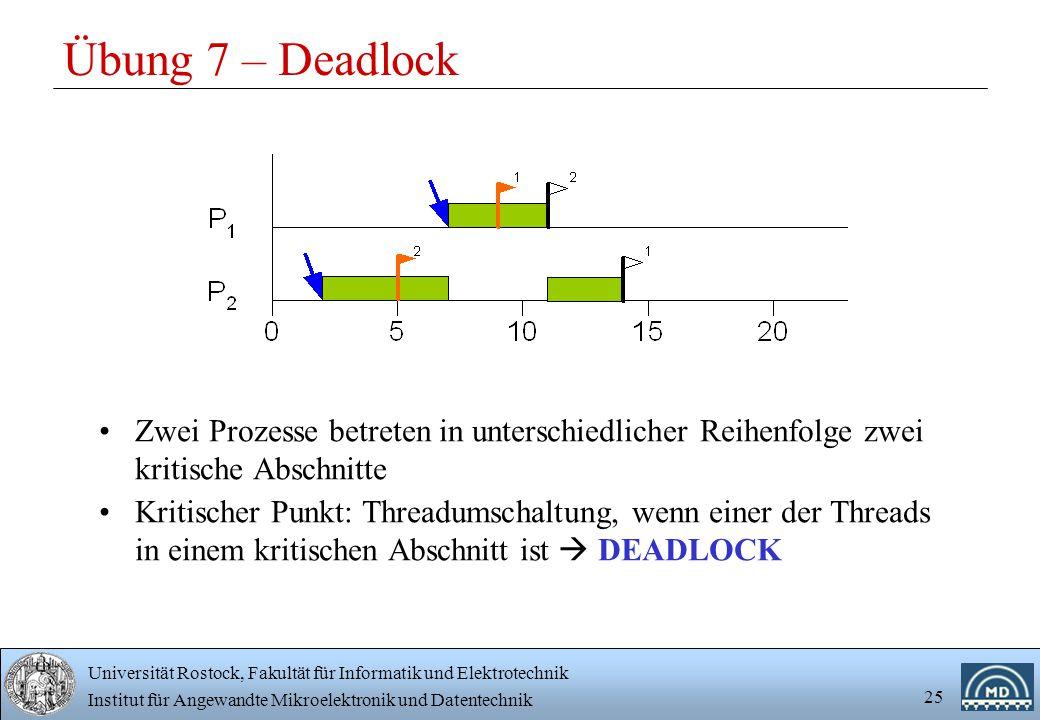 Universität Rostock, Fakultät für Informatik und Elektrotechnik Institut für Angewandte Mikroelektronik und Datentechnik 25 Übung 7 – Deadlock Zwei Prozesse betreten in unterschiedlicher Reihenfolge zwei kritische Abschnitte Kritischer Punkt: Threadumschaltung, wenn einer der Threads in einem kritischen Abschnitt ist  DEADLOCK