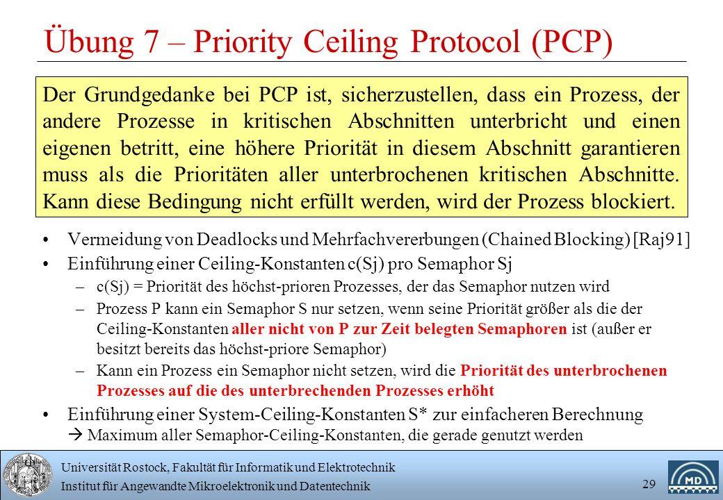 Universität Rostock, Fakultät für Informatik und Elektrotechnik Institut für Angewandte Mikroelektronik und Datentechnik 29 Übung 7 – Priority Ceiling Protocol (PCP) Vermeidung von Deadlocks und Mehrfachvererbungen (Chained Blocking) [Raj91] Einführung einer Ceiling-Konstanten c(Sj) pro Semaphor Sj –c(Sj) = Priorität des höchst-prioren Prozesses, der das Semaphor nutzen wird –Prozess P kann ein Semaphor S nur setzen, wenn seine Priorität größer als die der Ceiling-Konstanten aller nicht von P zur Zeit belegten Semaphoren ist (außer er besitzt bereits das höchst-priore Semaphor) –Kann ein Prozess ein Semaphor nicht setzen, wird die Priorität des unterbrochenen Prozesses auf die des unterbrechenden Prozesses erhöht Einführung einer System-Ceiling-Konstanten S* zur einfacheren Berechnung  Maximum aller Semaphor-Ceiling-Konstanten, die gerade genutzt werden Der Grundgedanke bei PCP ist, sicherzustellen, dass ein Prozess, der andere Prozesse in kritischen Abschnitten unterbricht und einen eigenen betritt, eine höhere Priorität in diesem Abschnitt garantieren muss als die Prioritäten aller unterbrochenen kritischen Abschnitte.