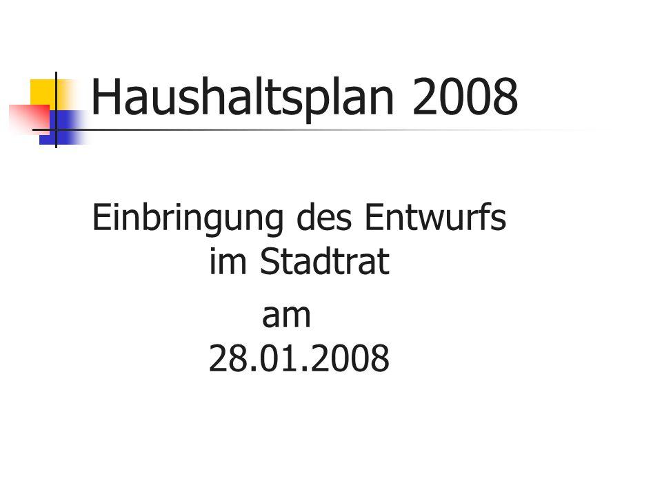 Haushaltsplan 2008 Einbringung des Entwurfs im Stadtrat am 28.01.2008