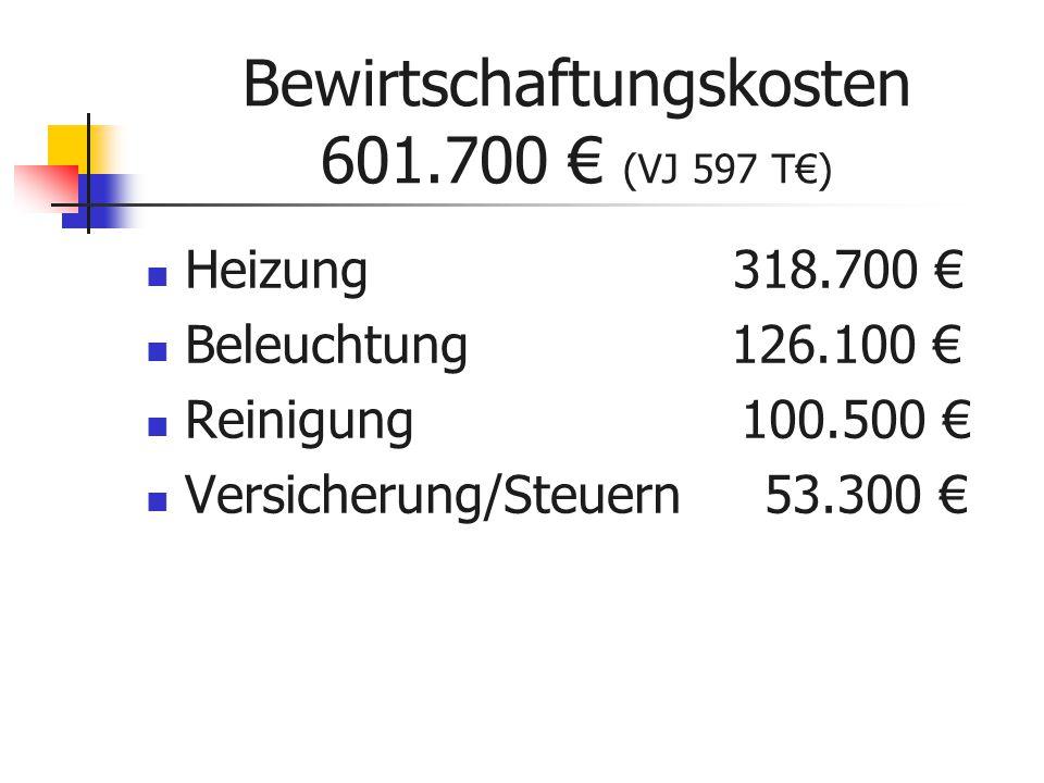 Bewirtschaftungskosten 601.700 € (VJ 597 T€) Heizung 318.700 € Beleuchtung 126.100 € Reinigung 100.500 € Versicherung/Steuern 53.300 €