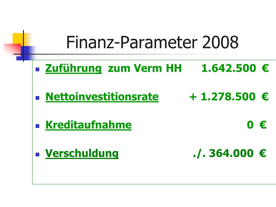Finanz-Parameter 2008 Zuführung zum Verm HH 1.642.500 € Nettoinvestitionsrate + 1.278.500 € Kreditaufnahme 0 € Verschuldung./.