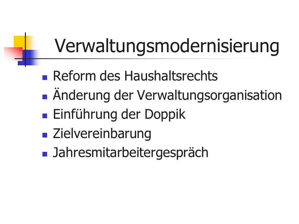Verwaltungsmodernisierung Reform des Haushaltsrechts Änderung der Verwaltungsorganisation Einführung der Doppik Zielvereinbarung Jahresmitarbeitergespräch