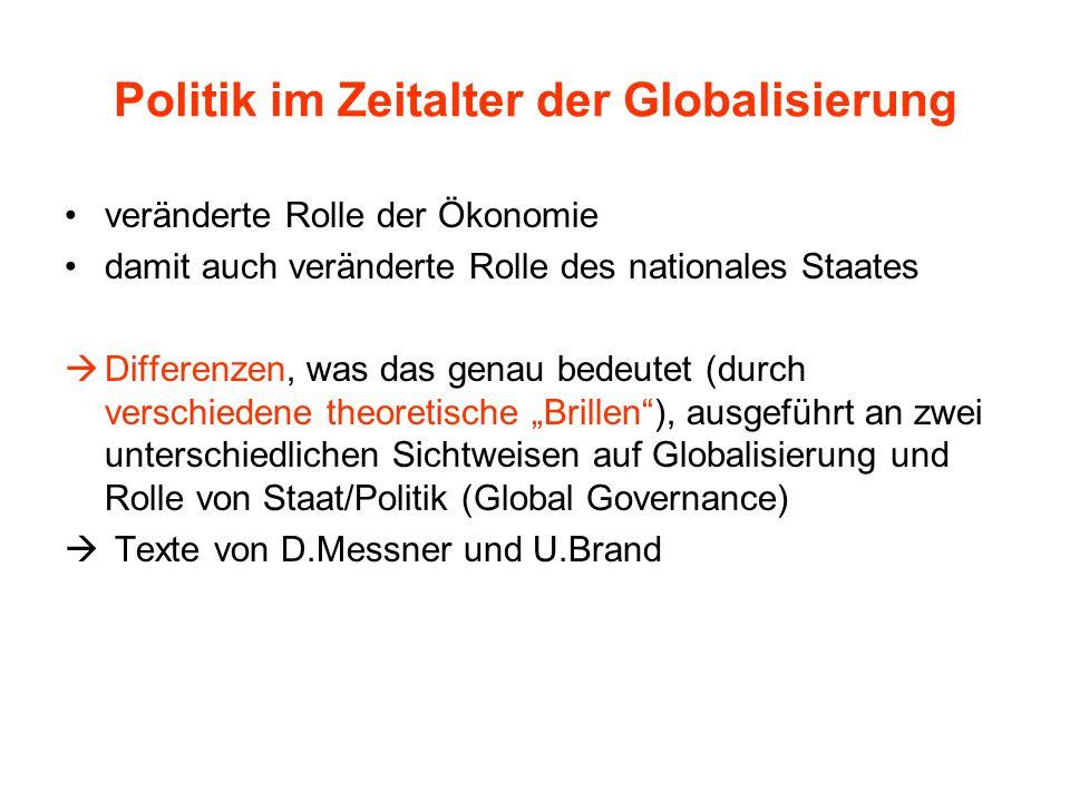 Politik im Zeitalter der Globalisierung veränderte Rolle der Ökonomie damit auch veränderte Rolle des nationales Staates  Differenzen, was das genau