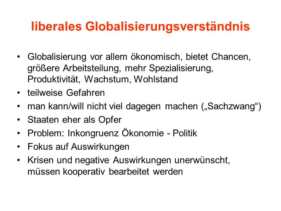 liberales Globalisierungsverständnis Globalisierung vor allem ökonomisch, bietet Chancen, größere Arbeitsteilung, mehr Spezialisierung, Produktivität,