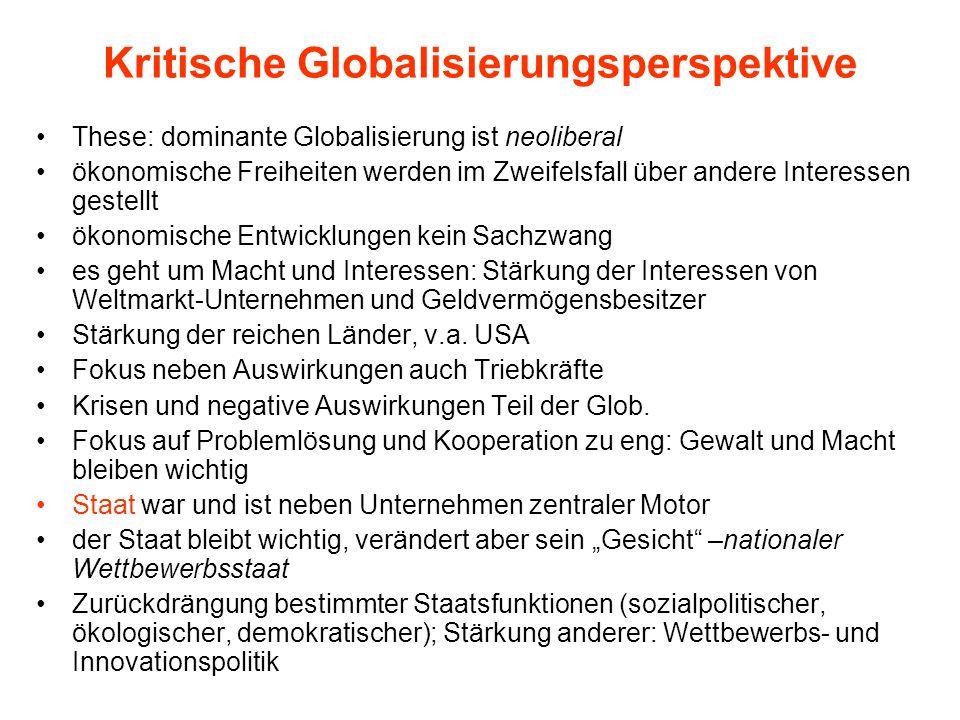 Kritische Globalisierungsperspektive These: dominante Globalisierung ist neoliberal ökonomische Freiheiten werden im Zweifelsfall über andere Interess