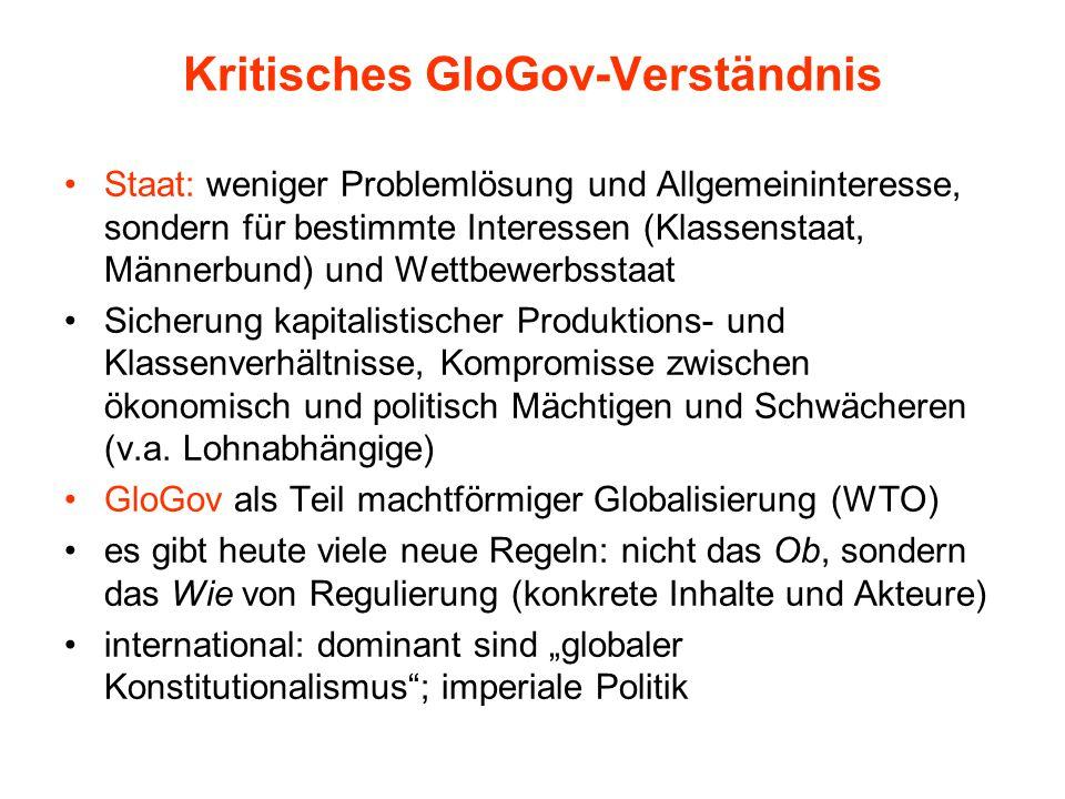 Kritisches GloGov-Verständnis Staat: weniger Problemlösung und Allgemeininteresse, sondern für bestimmte Interessen (Klassenstaat, Männerbund) und Wet