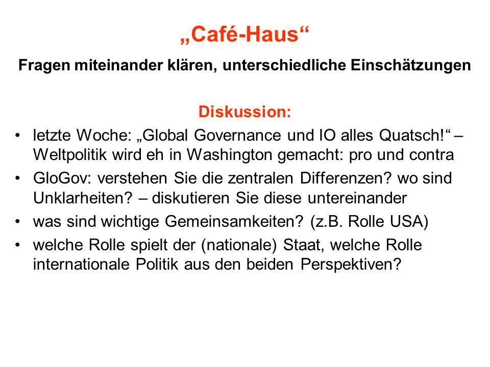 """""""Café-Haus"""" Fragen miteinander klären, unterschiedliche Einschätzungen Diskussion: letzte Woche: """"Global Governance und IO alles Quatsch!"""" – Weltpolit"""
