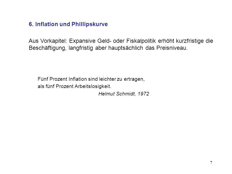 7 6. Inflation und Phillipskurve Aus Vorkapitel: Expansive Geld- oder Fiskalpolitik erhöht kurzfristige die Beschäftigung, langfristig aber hauptsächl