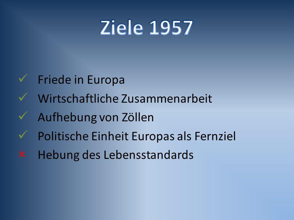 Friede in Europa Wirtschaftliche Zusammenarbeit Aufhebung von Zöllen Politische Einheit Europas als Fernziel  Hebung des Lebensstandards