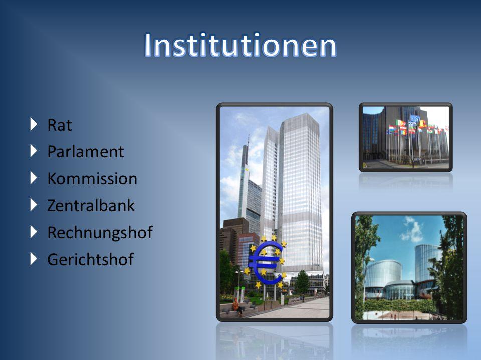  Rat  Parlament  Kommission  Zentralbank  Rechnungshof  Gerichtshof
