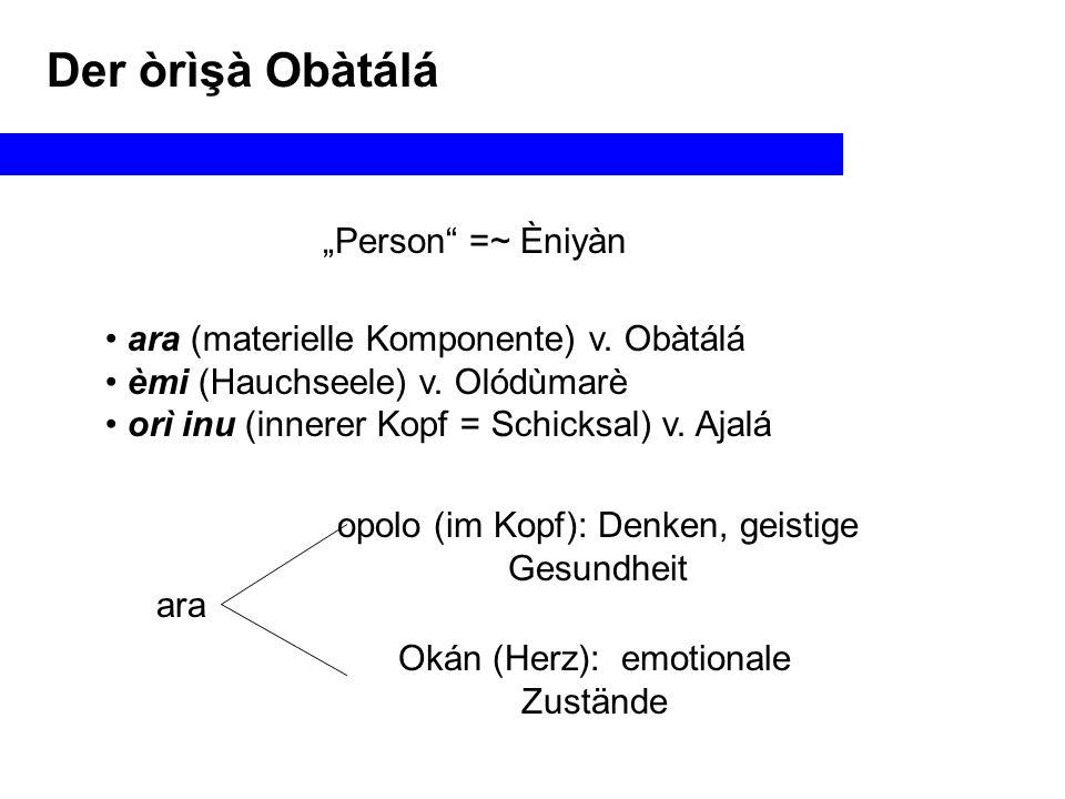 """Der òrìşà Obàtálá """"Person =~ Èniyàn ara (materielle Komponente) v."""