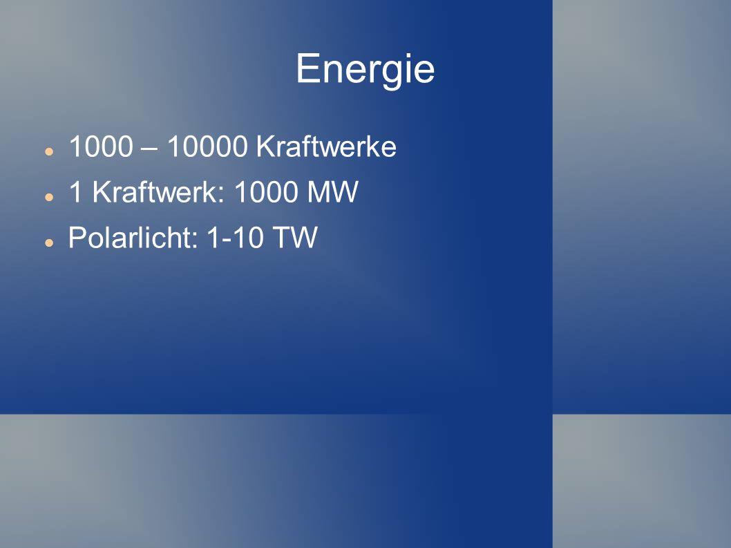 Energie 1000 – 10000 Kraftwerke 1 Kraftwerk: 1000 MW Polarlicht: 1-10 TW