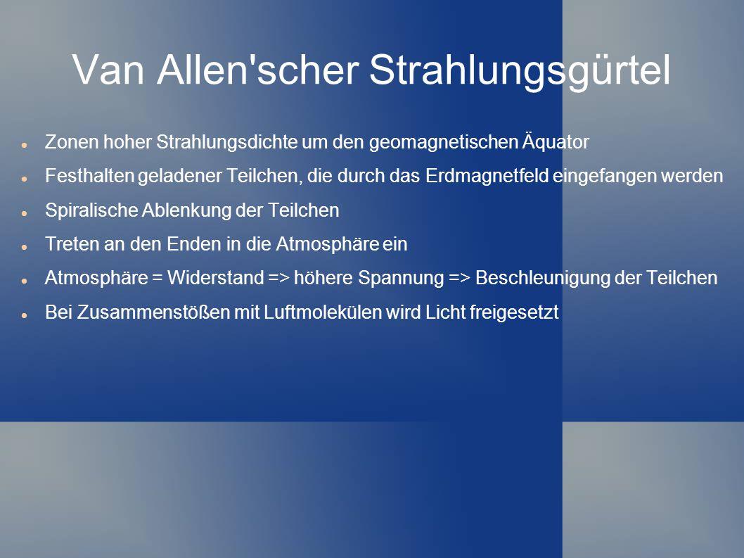 Van Allen'scher Strahlungsgürtel Zonen hoher Strahlungsdichte um den geomagnetischen Äquator Festhalten geladener Teilchen, die durch das Erdmagnetfel