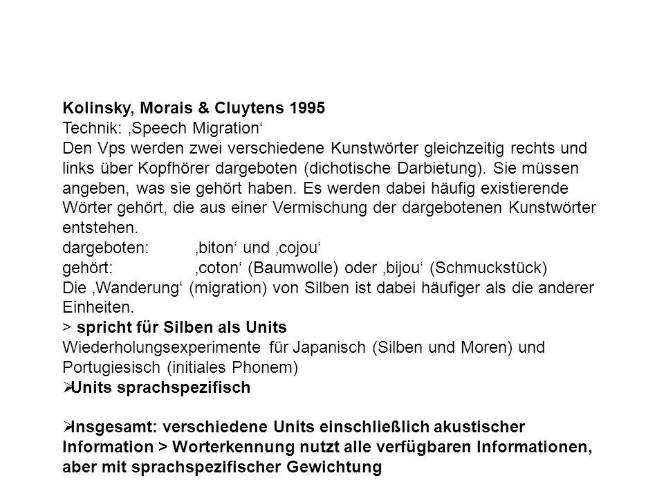 Kolinsky, Morais & Cluytens 1995 Technik: 'Speech Migration' Den Vps werden zwei verschiedene Kunstwörter gleichzeitig rechts und links über Kopfhörer