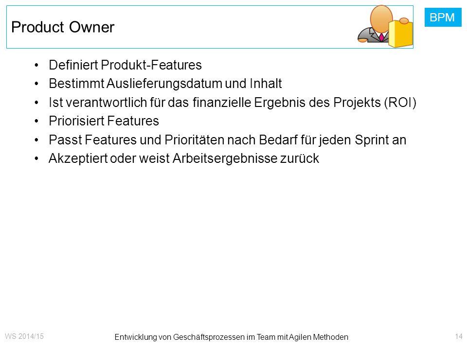 BPM Product Owner Definiert Produkt-Features Bestimmt Auslieferungsdatum und Inhalt Ist verantwortlich für das finanzielle Ergebnis des Projekts (ROI)