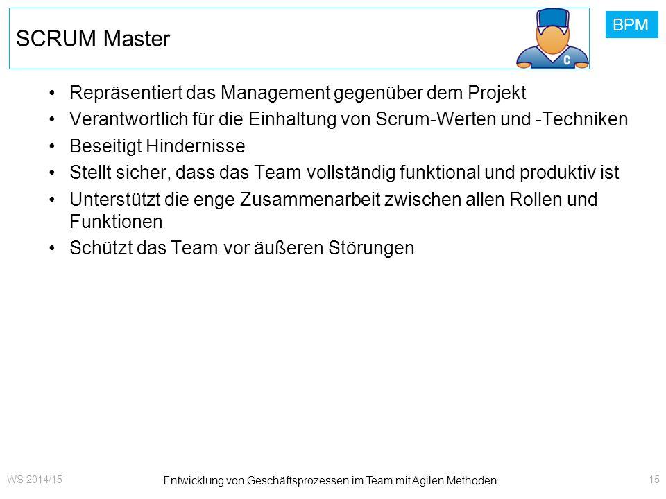 BPM SCRUM Master Repräsentiert das Management gegenüber dem Projekt Verantwortlich für die Einhaltung von Scrum-Werten und -Techniken Beseitigt Hinder