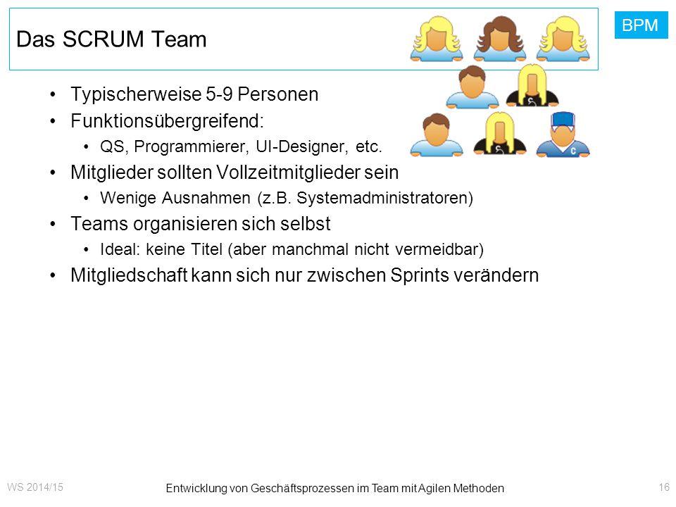 BPM Das SCRUM Team Typischerweise 5-9 Personen Funktionsübergreifend: QS, Programmierer, UI-Designer, etc. Mitglieder sollten Vollzeitmitglieder sein