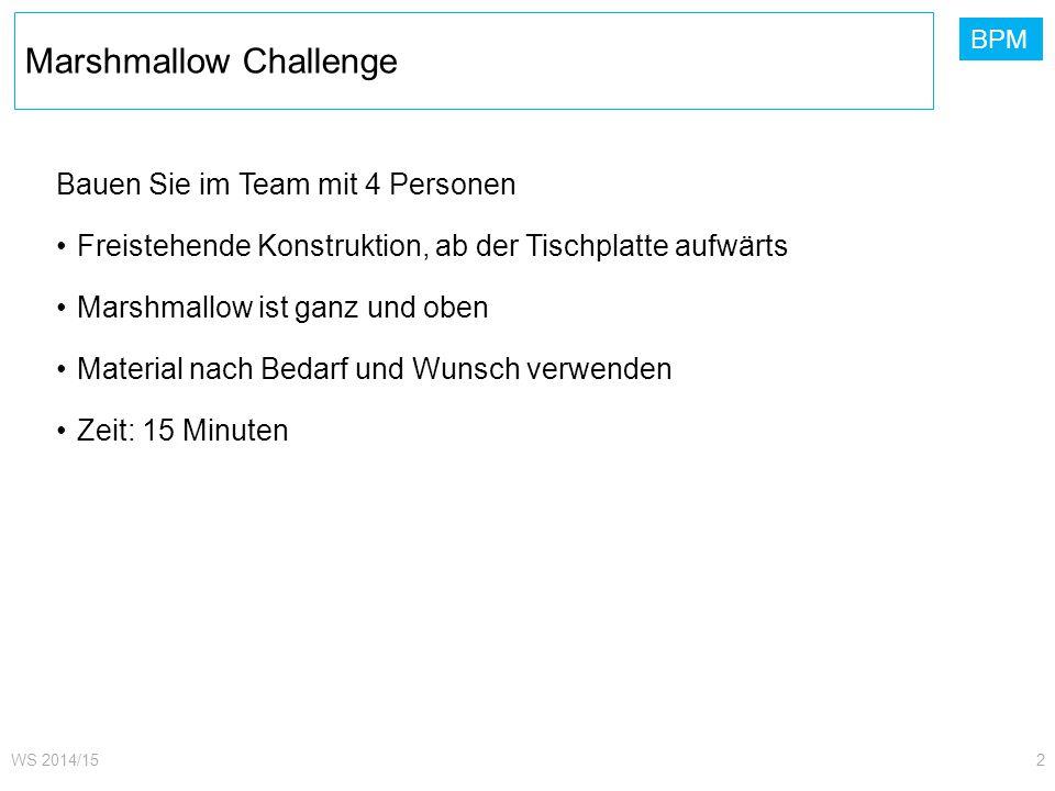 BPM Marshmallow Challenge WS 2014/152 Bauen Sie im Team mit 4 Personen Freistehende Konstruktion, ab der Tischplatte aufwärts Marshmallow ist ganz und