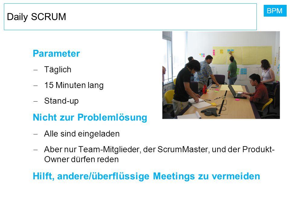 BPM Daily SCRUM Parameter  Täglich  15 Minuten lang  Stand-up Nicht zur Problemlösung  Alle sind eingeladen  Aber nur Team-Mitglieder, der ScrumM