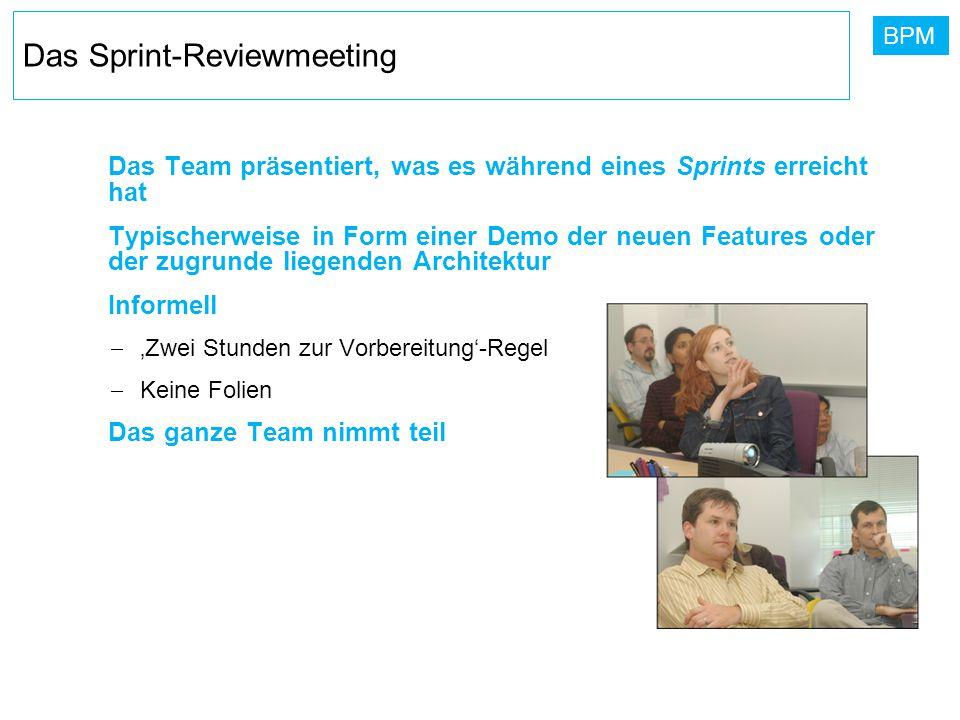 BPM Das Sprint-Reviewmeeting Das Team präsentiert, was es während eines Sprints erreicht hat Typischerweise in Form einer Demo der neuen Features oder