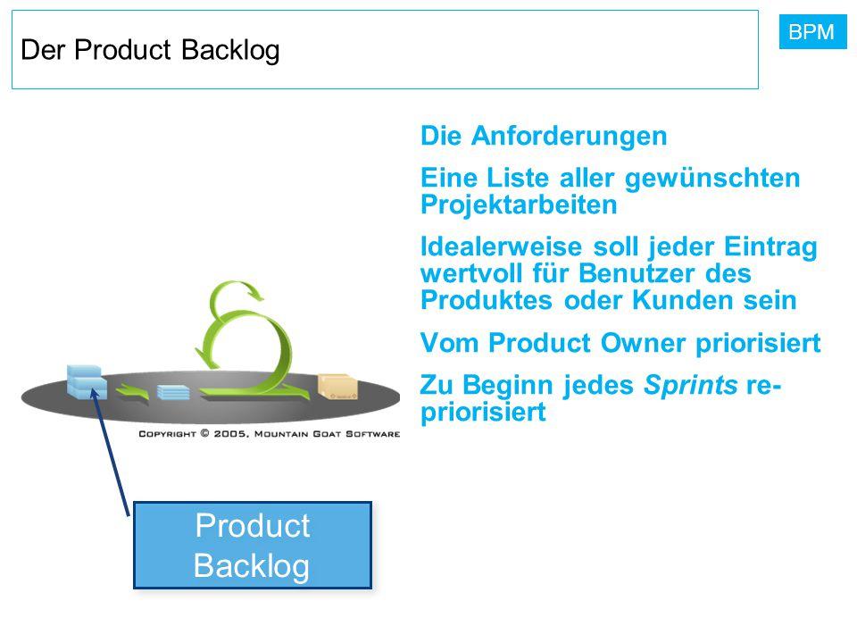 BPM Der Product Backlog Die Anforderungen Eine Liste aller gewünschten Projektarbeiten Idealerweise soll jeder Eintrag wertvoll für Benutzer des Produ