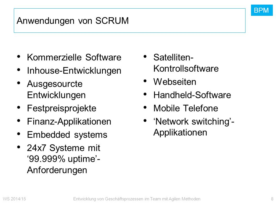 BPM Kommerzielle Software Inhouse-Entwicklungen Ausgesourcte Entwicklungen Festpreisprojekte Finanz-Applikationen Embedded systems 24x7 Systeme mit '9
