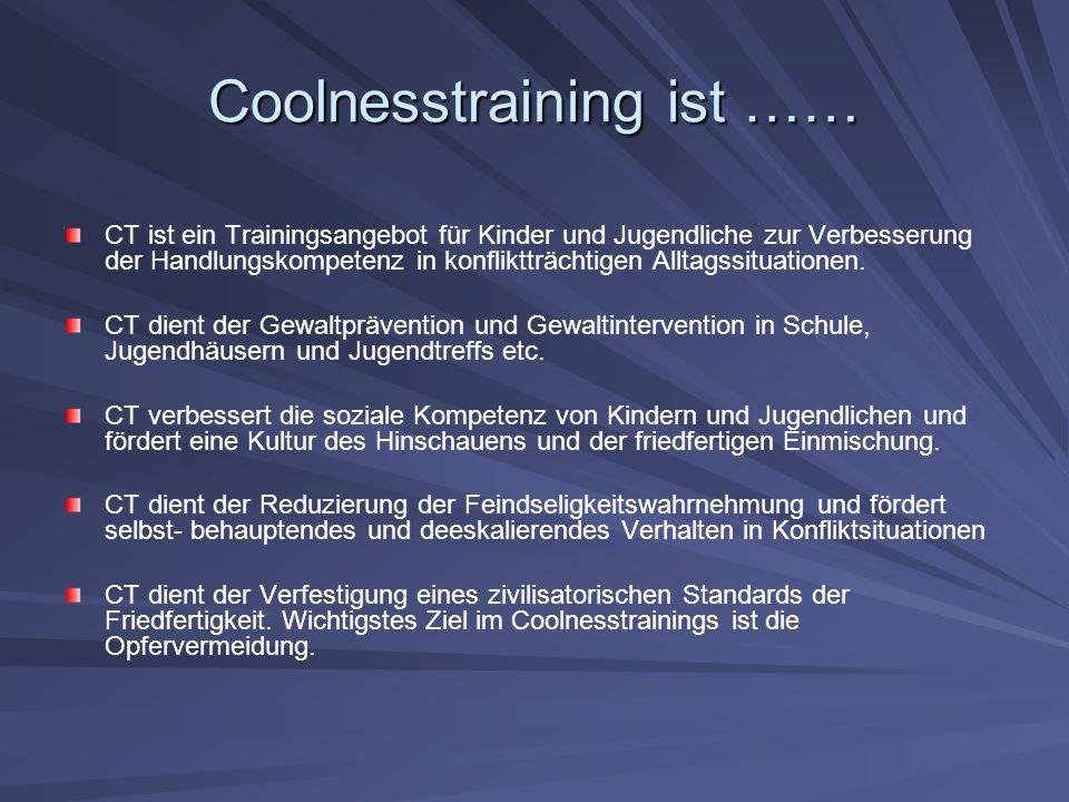 Coolnesstraining ist …… CT ist ein Trainingsangebot für Kinder und Jugendliche zur Verbesserung der Handlungskompetenz in konfliktträchtigen Alltagssituationen.