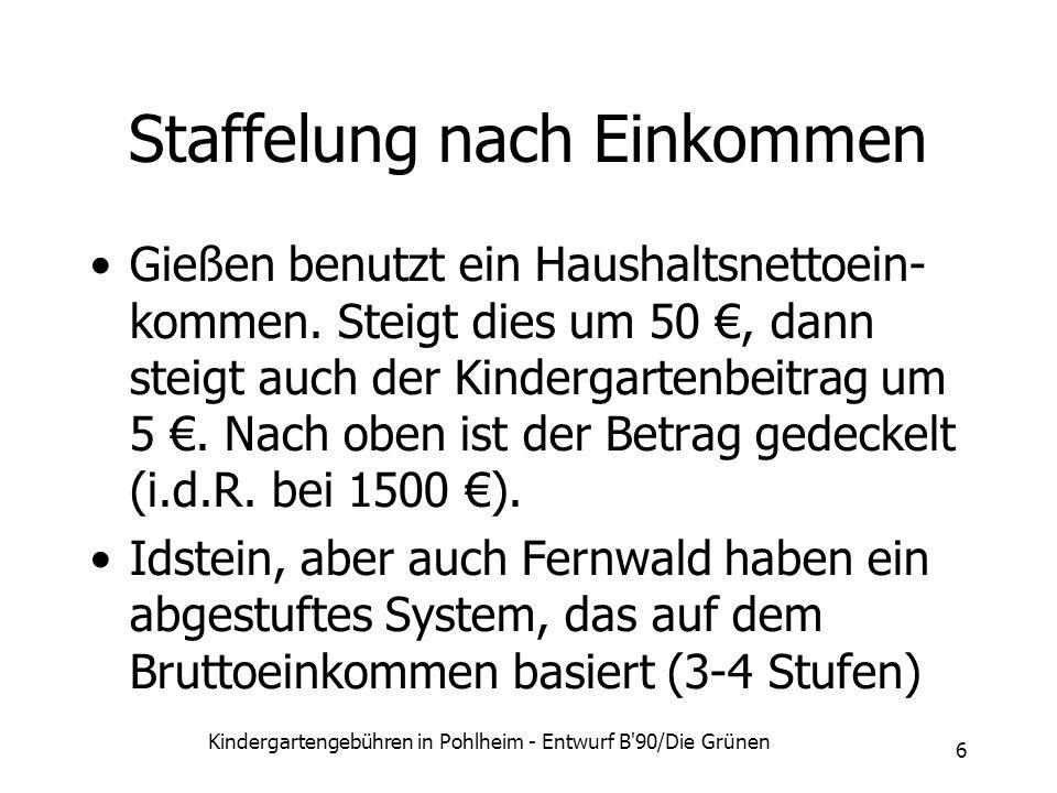 Kindergartengebühren in Pohlheim - Entwurf B'90/Die Grünen 6 Staffelung nach Einkommen Gießen benutzt ein Haushaltsnettoein- kommen. Steigt dies um 50