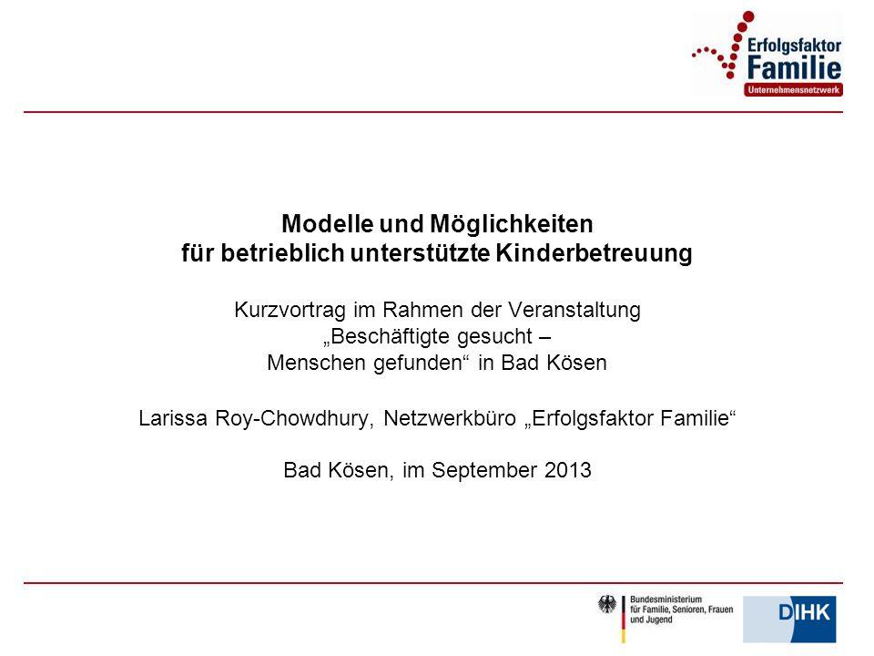"""Modelle und Möglichkeiten für betrieblich unterstützte Kinderbetreuung Kurzvortrag im Rahmen der Veranstaltung """"Beschäftigte gesucht – Menschen gefund"""