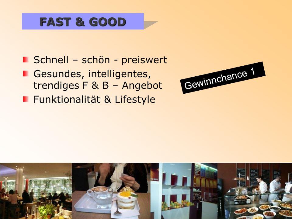 Schnell – schön - preiswert Gesundes, intelligentes, trendiges F & B – Angebot Funktionalität & Lifestyle FAST & GOOD Gewinnchance 1