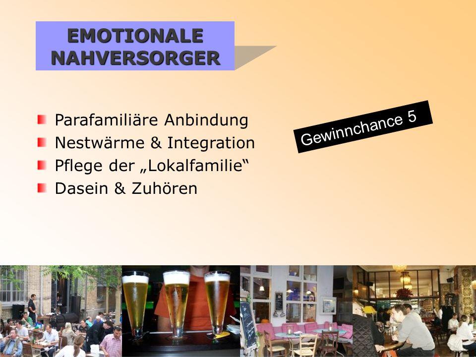 """EMOTIONALE NAHVERSORGER Parafamiliäre Anbindung Nestwärme & Integration Pflege der """"Lokalfamilie Dasein & Zuhören Gewinnchance 5"""