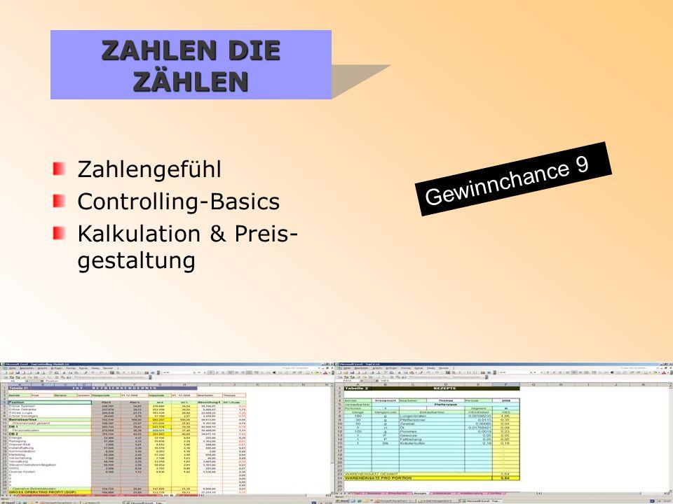 ZAHLEN DIE ZÄHLEN Zahlengefühl Controlling-Basics Kalkulation & Preis- gestaltung Gewinnchance 9
