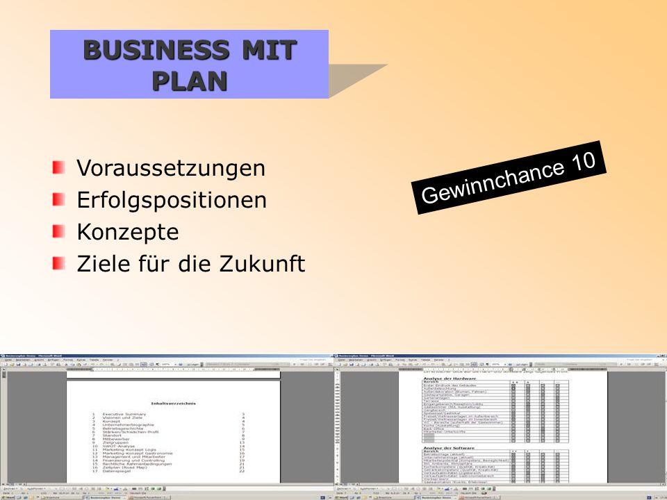 BUSINESS MIT PLAN Voraussetzungen Erfolgspositionen Konzepte Ziele für die Zukunft Gewinnchance 10