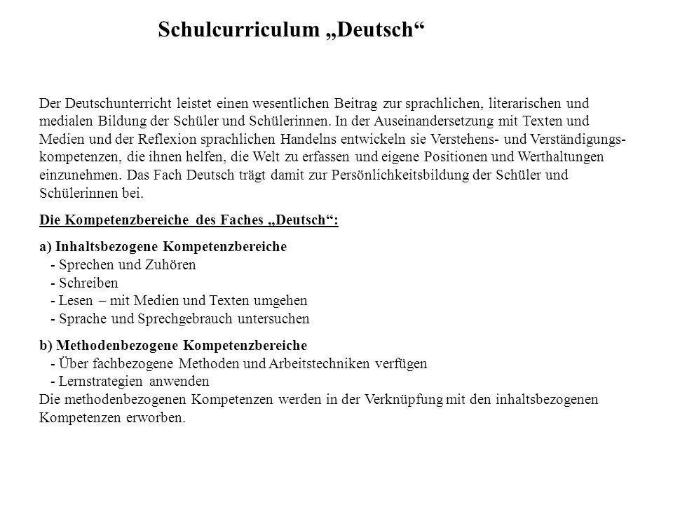 """Schulcurriculum """"Deutsch Sprechen und Zuhören - mit anderen sprechen - vor anderen sprechen - verstehend zuhören - Gespräche führen Schreiben - über Schreibfertigkeiten verfügen - richtig schreiben - Texte verfassen Lesen -über Lesefertigkeiten verfügen -über Lesefähigkeiten verfügen - Texte erschließen - Texte präsentieren Arbeitstechniken an Themen lernen / Lernstrategien anwenden z.B.: Wörterbücher verwenden Sprache und Sprachgebrauch untersuchen - grundlegende sprachliche Strukturen und Begriffe kennen - sprachliche Verständigung untersuchen - an Wörtern und Sätzen arbeiten Kompetenzbereiche:"""