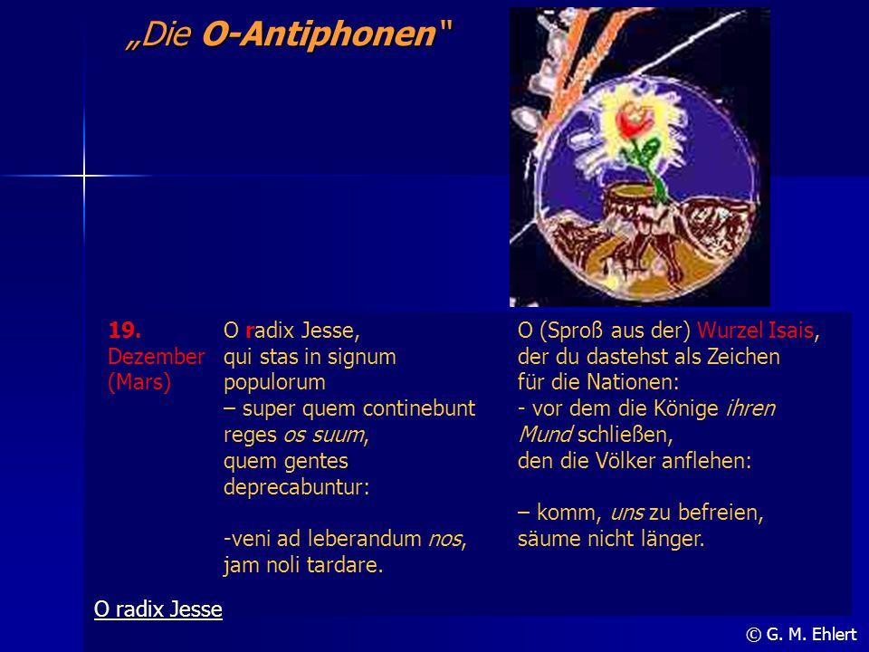 """""""Die O-Antiphonen"""" © G. M. Ehlert 19. Dezember (Mars) O radix Jesse, qui stas in signum populorum – super quem continebunt reges os suum, quem gentes"""