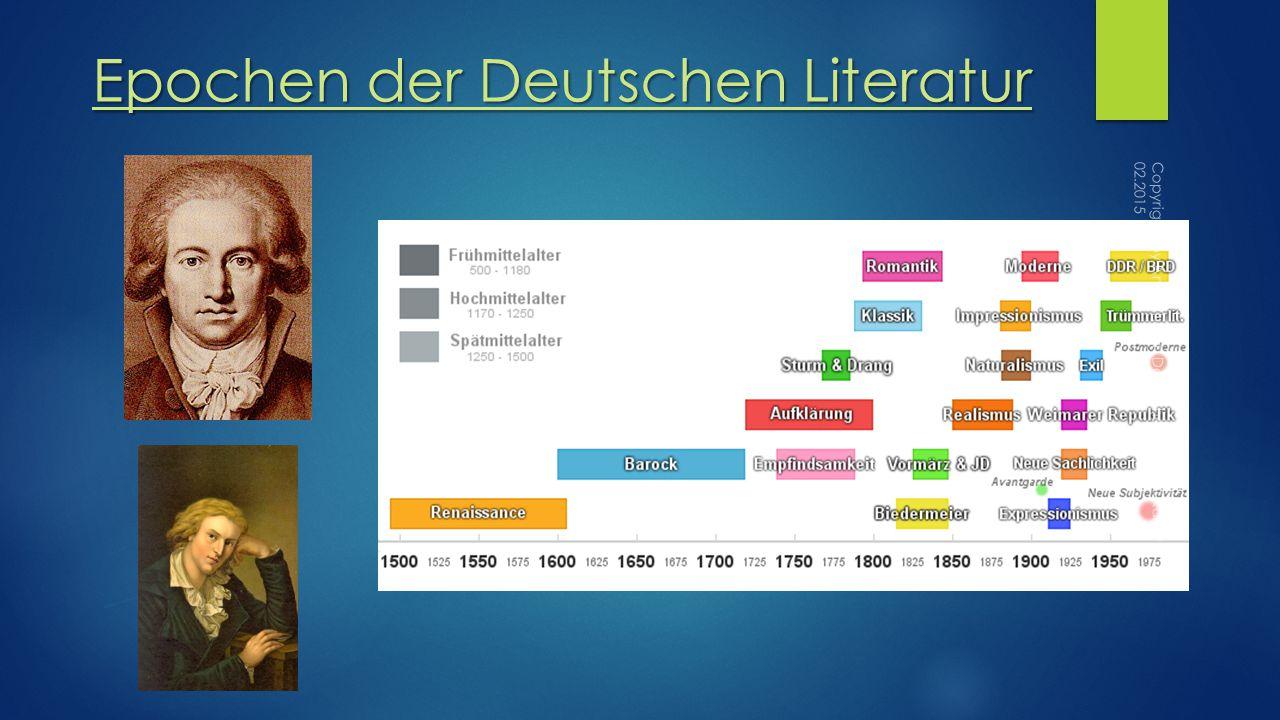 Epochen der Deutschen Literatur Copyrights by Anna Thelen Deutsche Schule Bukarest 02.2015