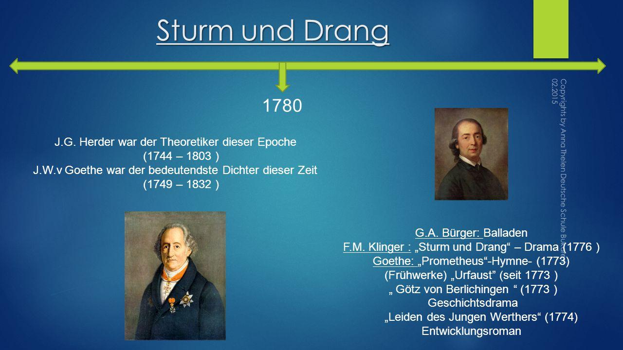 Sturm und Drang 1780 G.A.Bürger: Balladen F.M.