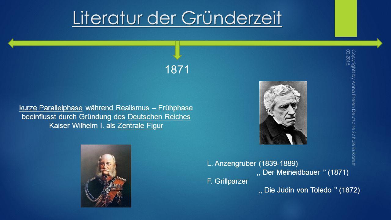 Literatur der Gründerzeit 1871 kurze Parallelphase während Realismus – Frühphase beeinflusst durch Gründung des Deutschen Reiches Kaiser Wilhelm I.