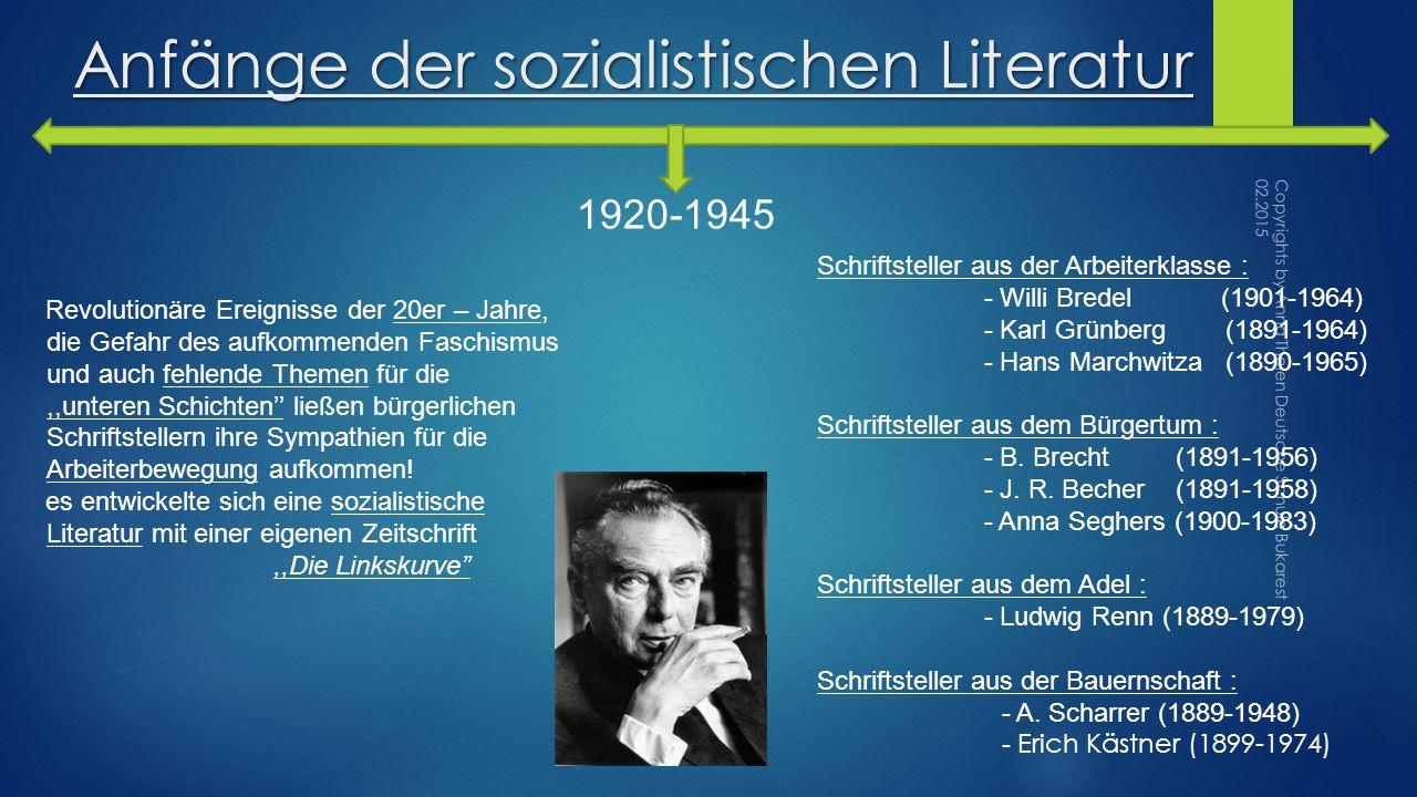 Anfänge der sozialistischen Literatur 1920-1945 Revolutionäre Ereignisse der 20er – Jahre, die Gefahr des aufkommenden Faschismus und auch fehlende Themen für die,,unteren Schichten'' ließen bürgerlichen Schriftstellern ihre Sympathien für die Arbeiterbewegung aufkommen.