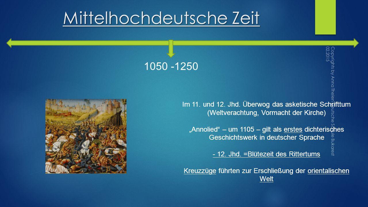 Mittelhochdeutsche Zeit 1050 -1250 Im 11.und 12. Jhd.