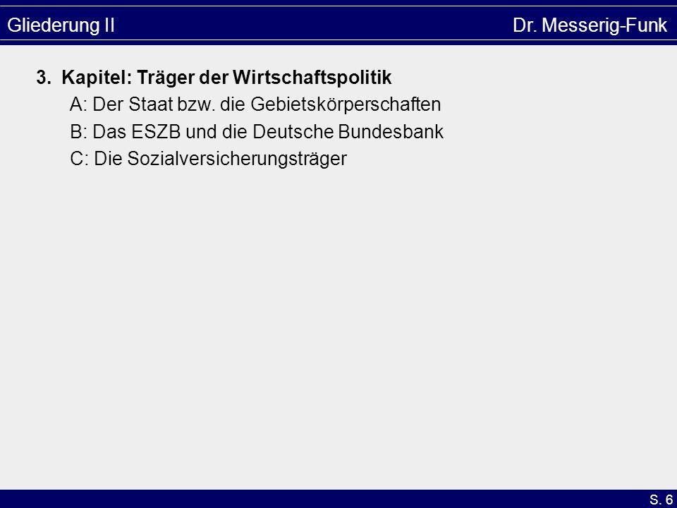 S. 6 Gliederung II Dr. Messerig-Funk 3. Kapitel: Träger der Wirtschaftspolitik A: Der Staat bzw. die Gebietskörperschaften B: Das ESZB und die Deutsch
