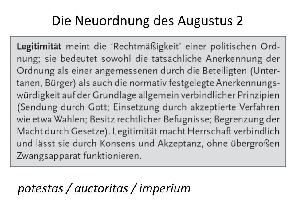 Die Neuordnung des Augustus 2 potestas / auctoritas / imperium